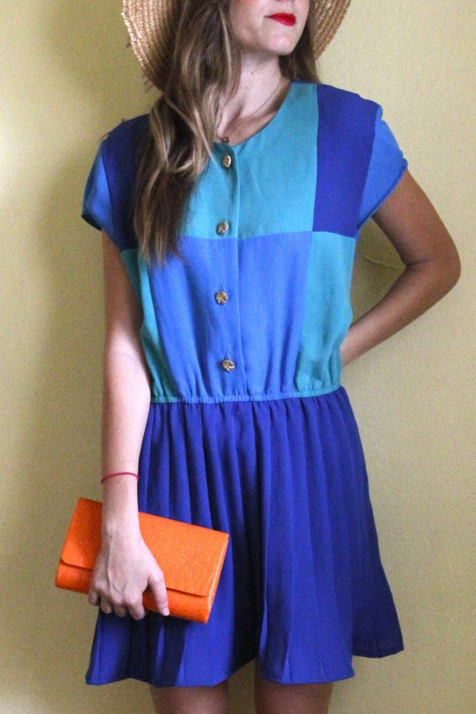 tea and tulips boutique - one of a kind vintage. ? color block dress