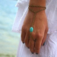 Slave Bracelet Hand Bracelet  Piece Hipster  Bronze Chain Boho Bohemian One Turquoise Bead Two Strand Hand Jewelry