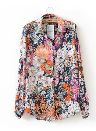 Floral Print Long Sleeve Shirt S164