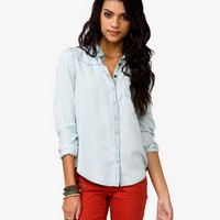Pearl Snap Button Chambray Shirt