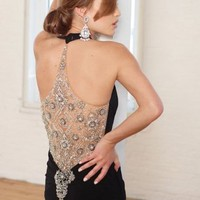 Black Halter Evening Dress