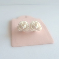White Ruffled Rose Earring - Surgical Steel Stud Earrings