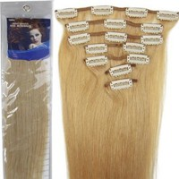 Amazon.com: 18'' 7pcs Remy Clips in Human Hair Extensions 27 Dark Blonde 70g for Women's Beauty Hairsalon in Fashion: Toys & Games