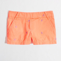 Factory 3&quot; embroidered broken-in chino short