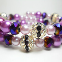 Beaded Wrap Bracelet Lovely Lavender Dream Pearl Memory Wire Bracelet