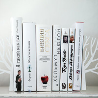 Minimalistic bookends - Winter trees - Scandinavia inspired item (white)