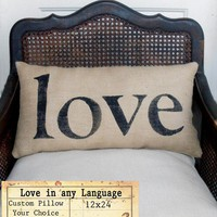 Love in any Language Burlap Pillow by nextdoortoheaven on Etsy