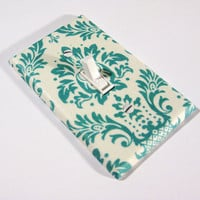 cottage chic Teal and White Damask Home Decor by ModernSwitch