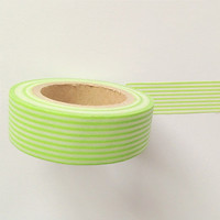 Lime Green and White Stripes Washi Tape