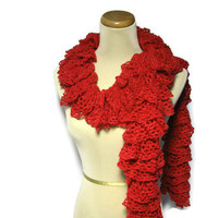 Valentines Day Hand Knit Ruffled Scarf - Red