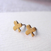 Clubs Earring Studs - Brass Clubs Earring Posts - Tiny Earring Studs