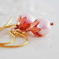 Pink Pearl Earrings Copper Genuine Freshwater Rose Pastel Gold Filled Mixed Metal Jewelry Free Shipping
