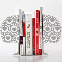 Minimalistic bookends - Danish heart tree- Scandinavia inspired item (white)