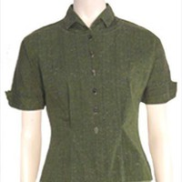 Rhonda Lee 50s Vintage Green Blouse