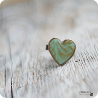 Ring Mint green heart by Dariami on Etsy