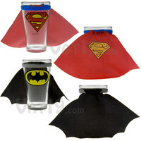 Superhero Pint Glasses with Removable Capes