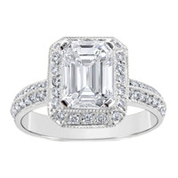 Engagement Ring - Emerald Cut Diamond Vintage Knife Edge Engagement Ring 0.50 tcw. In 14K White Gold - ES537EC