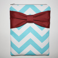iPad Zipper Case / Sleeve - Light Turquoise Chevron Stripes with Red Bow - Padded