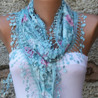 Cotton  Cowl Scarf - Shawl  with Lace Edge Blue - Multicolor