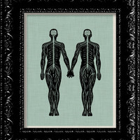 Steampunk Anatomy Paper doll Couple Anatomy Print - Vintage Retro Inspired - Collage Art Print -  8x10 Art Print Poster