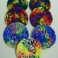 Crochet Scrubbies/Scrubbers - Set of 7 - Rainbow Mix Colors