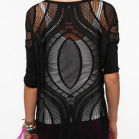 Urban Outfitters - Sparkle & Fade Patterned Mesh Top