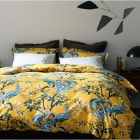 DwellStudio | Modern Duvet Covers - Chic Bed Linens - Bedding Sets - Peacock Citrine Duvet Set