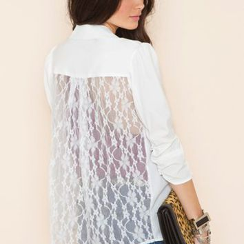 Lace Back Blazer - Ivory in  What's New at Nasty Gal
