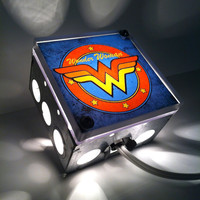 Wonder Woman Retro Logo - Repurposed Vintage Dictionary Print Design Night Light Box Lamp
