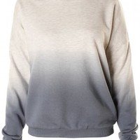 Grey & Blue Ombre Dip Dye Lightweight Cotton Jumper -  from Lavish Alice UK
