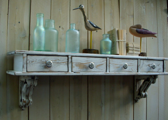 Shabby Chic Wall Shelf Drawers French From Honeystreasures On
