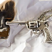 SixShooter Gun in Antique Silver on a 18 Chain Made by billyblue22