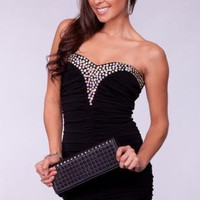 Little Black Dress with Sweetheart Neck & Rhinestone Detail