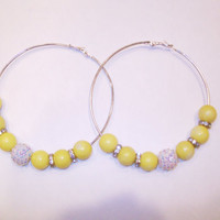 Silver Earrings with Yellow and Silver Beads by StrictlyCute