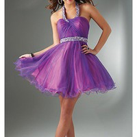 Short Halter A-line Tulle Sequin Dress