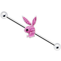 Body Candy  Playboy Hot Pink Crystal Rabbit Head Industrial Barbell