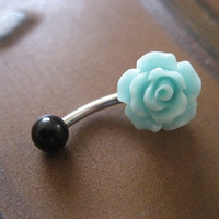 Sea Foam Rose Belly Button Ring- Pastel Minty Mint Green Flower Navel Stud Jewelry Bar Barbell Piercing