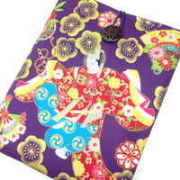 Cotton Fabric Tablet Case, Kimono iPad 4 Sleeves, Padded iPad Cover Japanese Cotton Fabric Japanese Dancing Purple