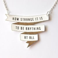 $26.00 How Strange It Is  Banner Necklace  Made To Order by rareindeed