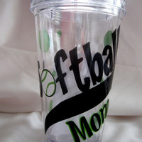 SOFTBALL MOM Acrylic Tumbler  Personalized