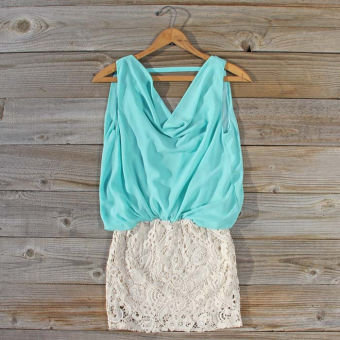 Sea Crystal Dress in Mint, Sweet Women's Bohemian Clothing
