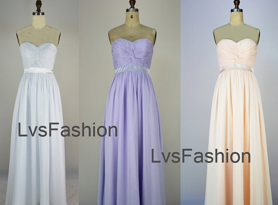 Strapless Sweetheart Floor Length Chiffon Evening Dresses, Prom Dresses, Party Dresses, Evening Gown Bridesmaid Dresses