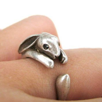 Miniature Bunny Rabbit Ring in Silver Sizes 5 to 9 available | dotoly - Jewelry on ArtFire