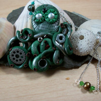 Steampunk Octopus with Fresh Water pearls by moonknightjewels