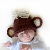 Monkey baby beanie hat in brown cream. size 1 Wool kids hat Gift under 25 30 Ready to ship