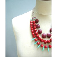 Chunky Red Necklace, Valentine Nec.. on Luulla
