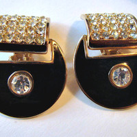 Vintage Art Deco Style Enamel and Rhinestone Door Knocker Clip On Earrings