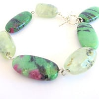 Ruby zoisite bracelet, with prehnite, fine jewelry green tennis bracelet, sterling silver