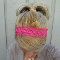 Dark pink stretch lace headband - feminine - romantic - classic