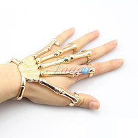 Gold Punk Finger Knuckle Ring Skeleton Hand Bone Talon Claw Skull Bracelet Cuff